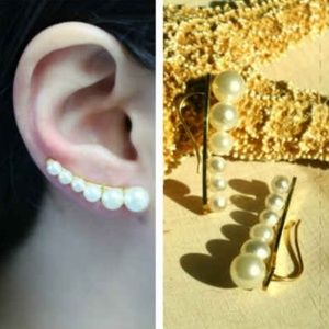 24k Gold plated White Pearl Ear Pin Cuffs